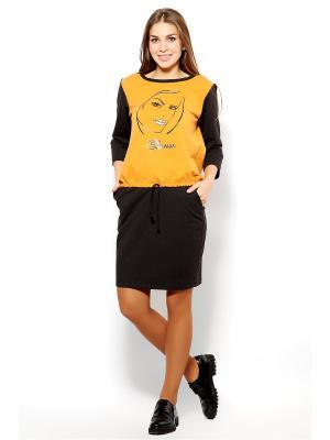 Костюм (юбка,свитшот) MONDIGO. Цвет: антрацитовый, оранжевый