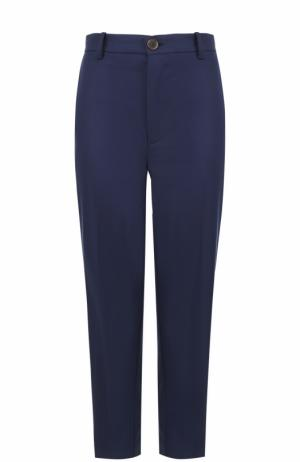 Укороченные брюки прямого кроя со стрелками Erika Cavallini. Цвет: синий