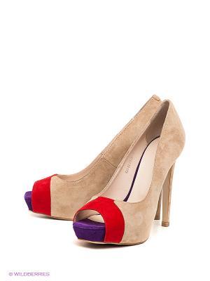 Туфли Calipso. Цвет: бежевый, красный