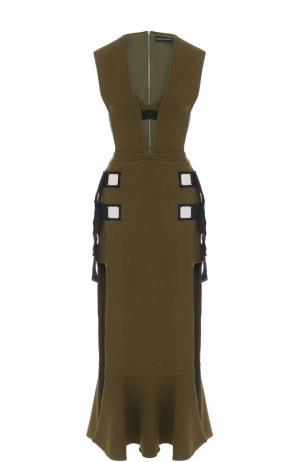 Платье-миди с высоким разрезом и V-образным вырезом David Koma. Цвет: зеленый