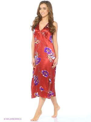 Ночная сорочка Del Fiore. Цвет: темно-красный