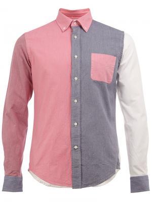 Рубашка колор-блок Wooster + Lardini. Цвет: розовый и фиолетовый