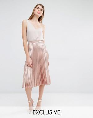 True Violet Плиссированная юбка миди. Цвет: розовый
