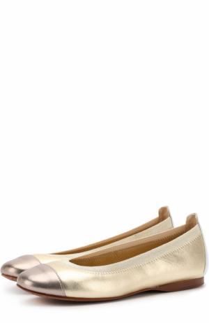 Комбинированные балетки из металлизированной кожи David Charles. Цвет: золотой