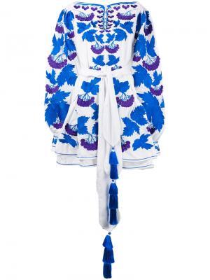Платье с цветочной вышивкой Yuliya Magdych. Цвет: белый