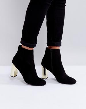 Miss KG Ботинки на золотистом каблуке. Цвет: черный