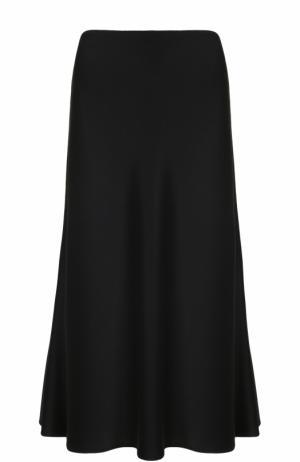 Однотонная юбка-миди St. John. Цвет: черный