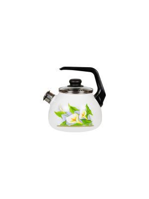 Чайник 2,0 л, со свистком,  СтальЭмаль. Цвет: белый, салатовый, желтый