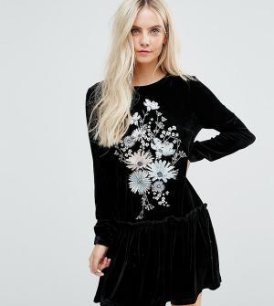 Glamorous Petite Бархатное свободное платье с длинными рукавами и цветочной вышивкой Gl. Цвет: черный