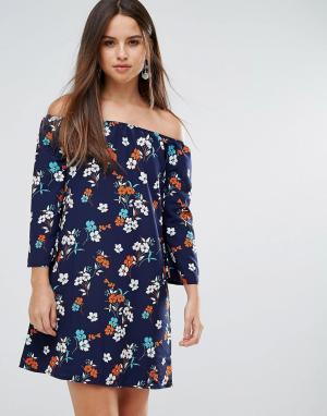 Parisian Платье с цветочным принтом и открытыми плечами. Цвет: черный