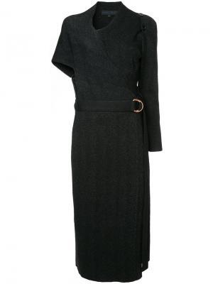 Платье с запахом и поясом Proenza Schouler. Цвет: чёрный