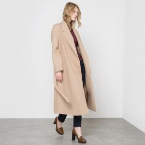 Пальто длинное без застежки с поясом La Redoute Collections. Цвет: бежевый