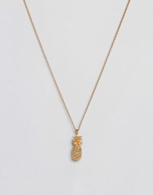 Bill Skinner Позолоченное ожерелье с ананасом. Цвет: золотой