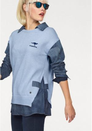 Пуловер 2 в 1 Kangaroos. Цвет: голубой деним