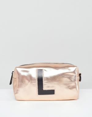New Look Косметичка с инициалом L. Цвет: золотой