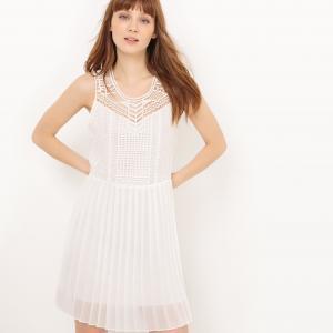 Платье ажурное без рукавов SUD EXPRESS. Цвет: экрю