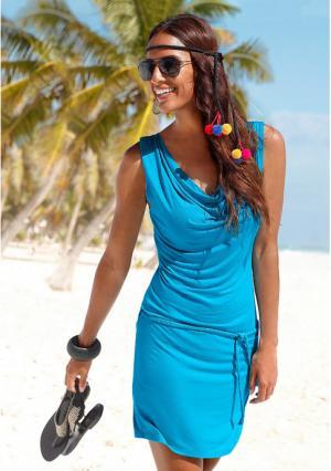 Пляжное платье BEACH TIME. Цвет: бирюзовый