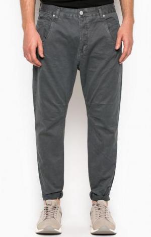 Серые хлопковые зауженные брюки ALCOTT. Цвет: серый