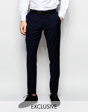 Number Eight Savile Row Эксклюзивные эластичные брюки скинни. Цвет: синий