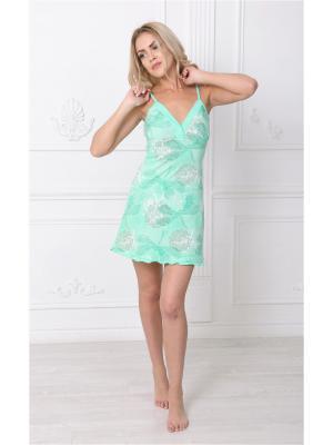 Ночная сорочка НЕЖКА. Цвет: белый, зеленый, светло-зеленый