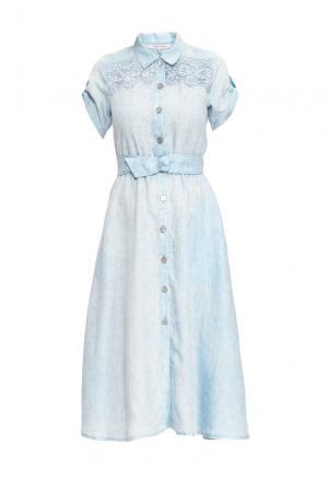 Платье из льна и хлопка 163233 Anna Verdi. Цвет: синий