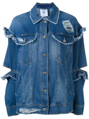 Джинсовая куртка с рюшами Sjyp. Цвет: синий
