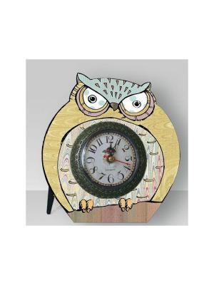 Часы настольные Мудрый филин Magic Home. Цвет: бежевый, темно-бежевый, хаки