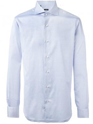 Рубашка со складками у манжетов Barba. Цвет: синий