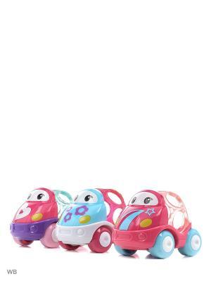 Машинки Только вперед! розовые Oball. Цвет: голубой, фуксия, белый