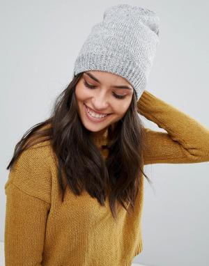 Plush Серая меланжевая шапка-бини с флисовой подкладкой. Цвет: серый