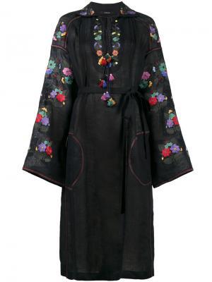Полупрозрачное платье с цветочной вышивкой Vita Kin. Цвет: синий