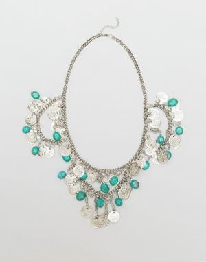 Raga Ожерелье с медальоном и кисточками Coin. Цвет: серебряный