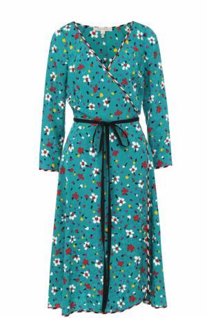 Шелковое платье-миди с запахом и поясом Marc Jacobs. Цвет: бирюзовый