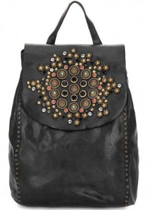 Кожаный рюкзак с металлическим декором Campomaggi. Цвет: черный