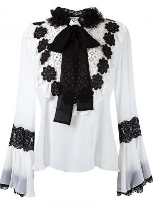 Floral lace appliqué blouse Martha Medeiros. Цвет: белый