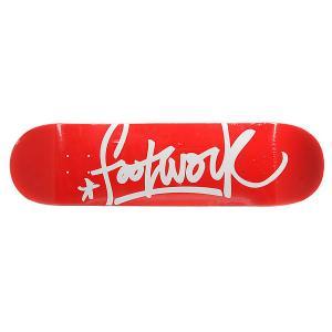 Дека для скейтборда  Original Tag Red Footwork. Цвет: красный,белый