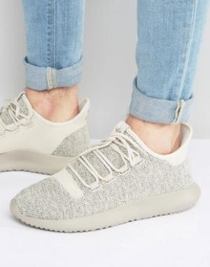 Adidas Originals Коричневые трикотажные кроссовки Tubular Shadow BB882. Цвет: коричневый