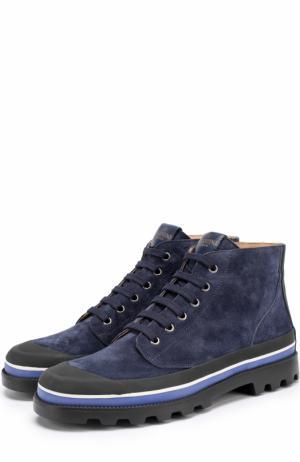 Высокие замшевые ботинки на шнуровке с контрастной отделкой Valentino. Цвет: темно-синий