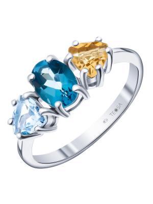 Кольцо Teosa. Цвет: желтый, голубой, синий