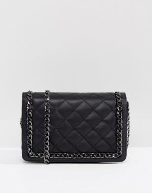ASOS Кожаная стеганая сумка через плечо с ремешком-цепочкой. Цвет: черный