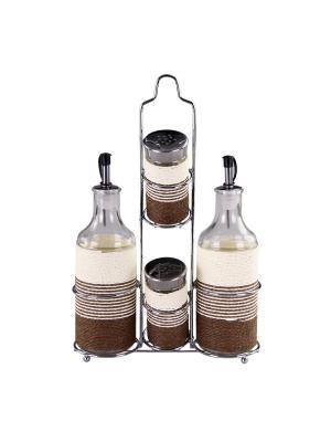 Набор для специй на металлической подставке 4 предмета, шт PATRICIA. Цвет: коричневый