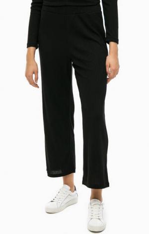 Черные трикотажные брюки ICHI. Цвет: черный