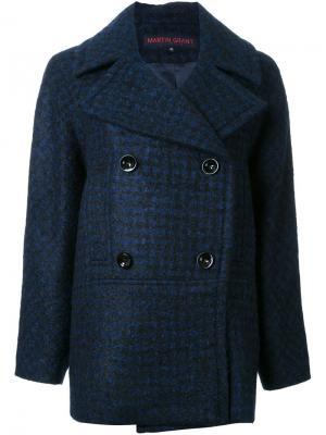 Двубортное пальто Martin Grant. Цвет: синий