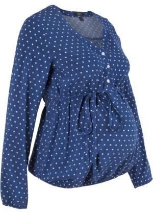 Блузка для беременных (полуночная синь/белый в горошек) bonprix. Цвет: полуночная синь/белый в горошек