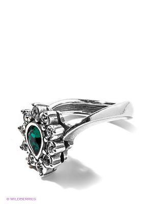 Кольцо Jenavi. Цвет: зеленый, серебристый