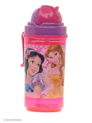 Фляга с соломинкой и держателем  Принцессы Stor. Цвет: розовый, лиловый