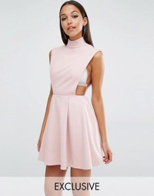AQ Платье мини с высокой горловиной AQ/AQ Sorah. Цвет: розовый