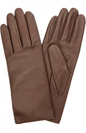 Кожаные перчатки с подкладкой из кашемира и шерсти Agnelle. Цвет: темно-коричневый