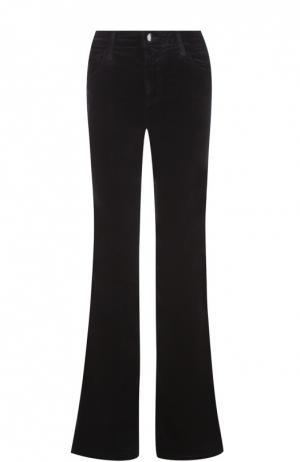 Расклешенные джинсы с потертостями J Brand. Цвет: черный