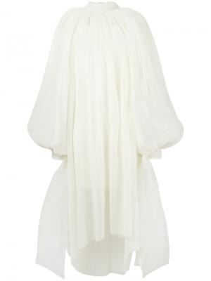Расклешенное платье-миди с вышивкой A.W.A.K.E.. Цвет: телесный